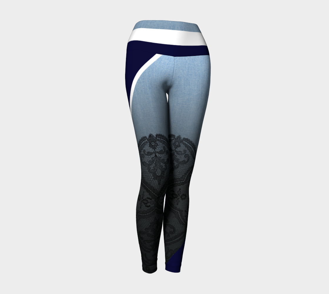 Sexy lace sits atop a denim backdrop with bold stripes as accents on these compression leggings