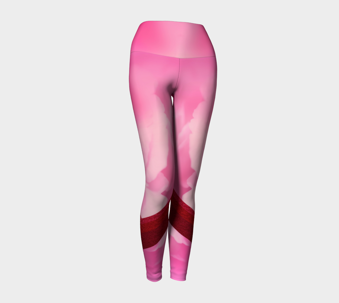 Abstract florals amid sparkly sprinkles in bold stripes adorn these full of love compression leggings.