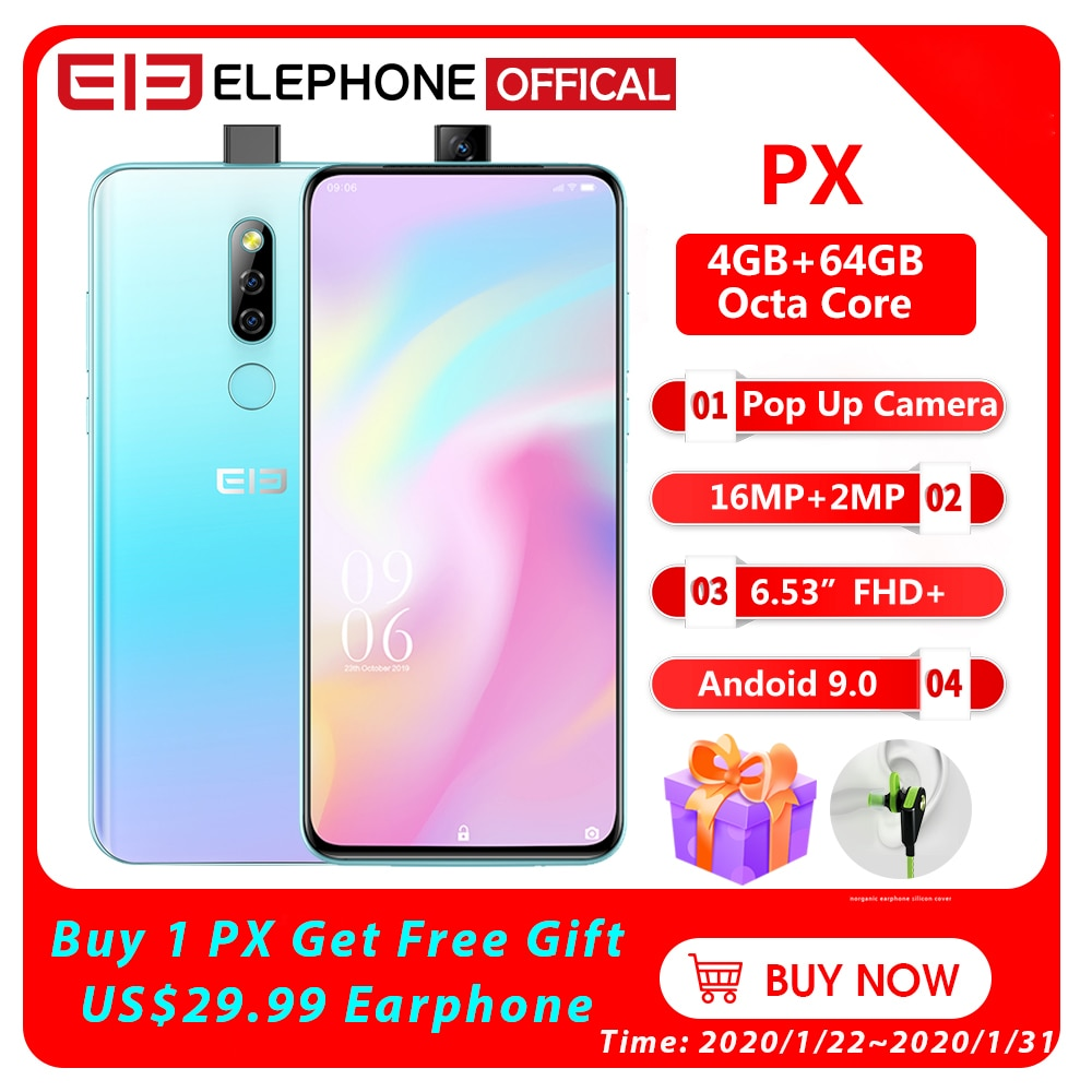 """Elephone PX 6.53"""" FHD+Full Screen Pop-Up 16MP+2MP Camera 3300mAh Mobile Phone Android 9.0 MT6763 Octa Core 4GB+64GB Smartphone"""
