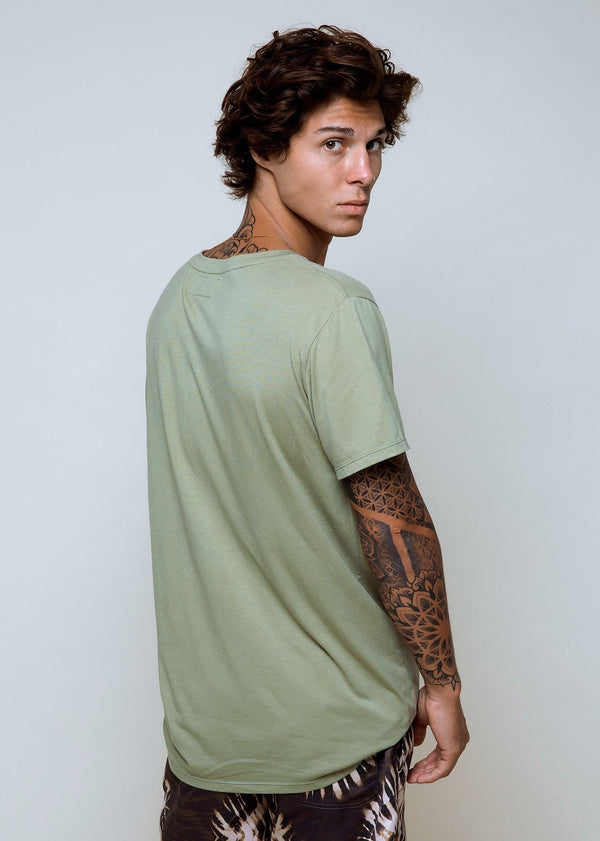 Bamboo Crew T - Elm Green - Alor The Label
