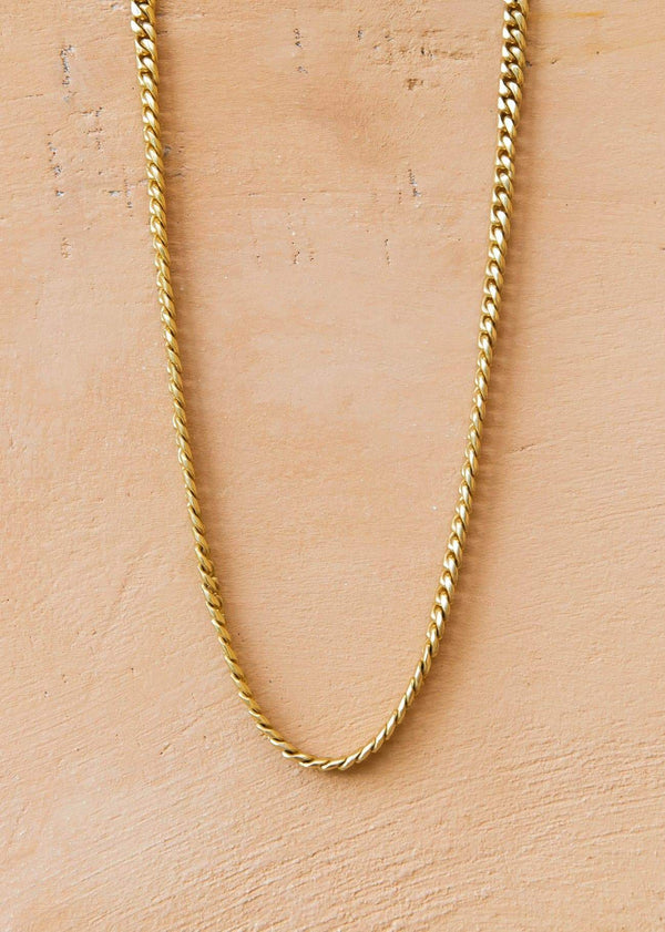 Handmade Cuban Chain Necklace with Alōr Tag Gold - Alor The Label