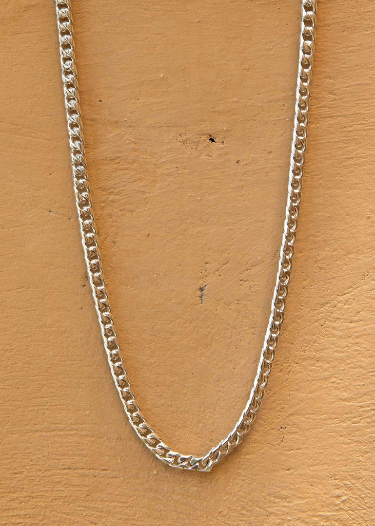 Handmade Cuban Chain Necklace with Alōr Tag Silver - Alor The Label