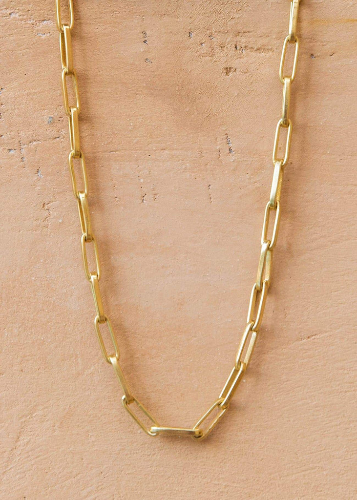 Handmade Paperclip Chain Necklace with Alōr Tag Gold - Alor The Label