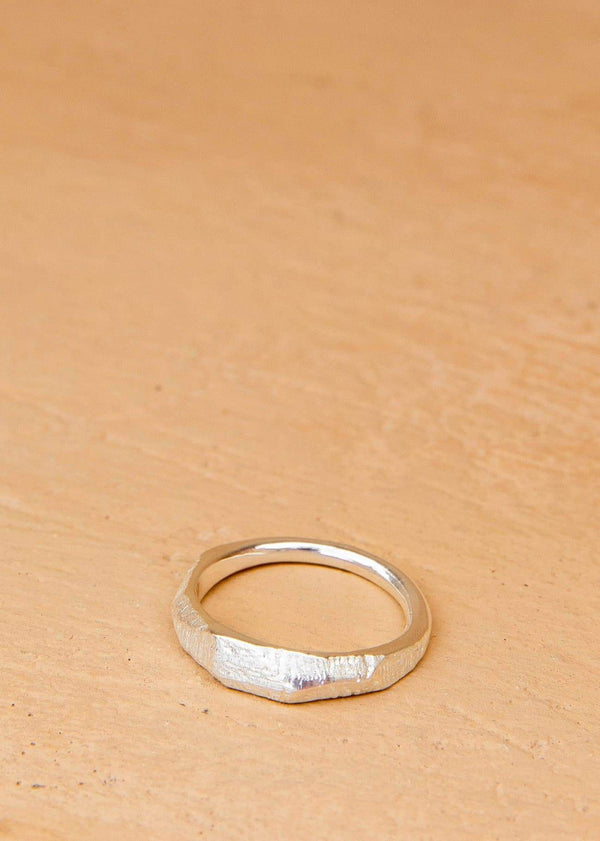 Handmade Textured Ring. 02 Silver - Alor The Label