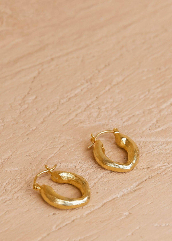 Textured Earring Hoops 15mm Gold - Alor The Label