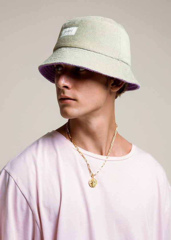 Towel Bucket Hat - Reversible Lilac & Pistachio - Alor The Label