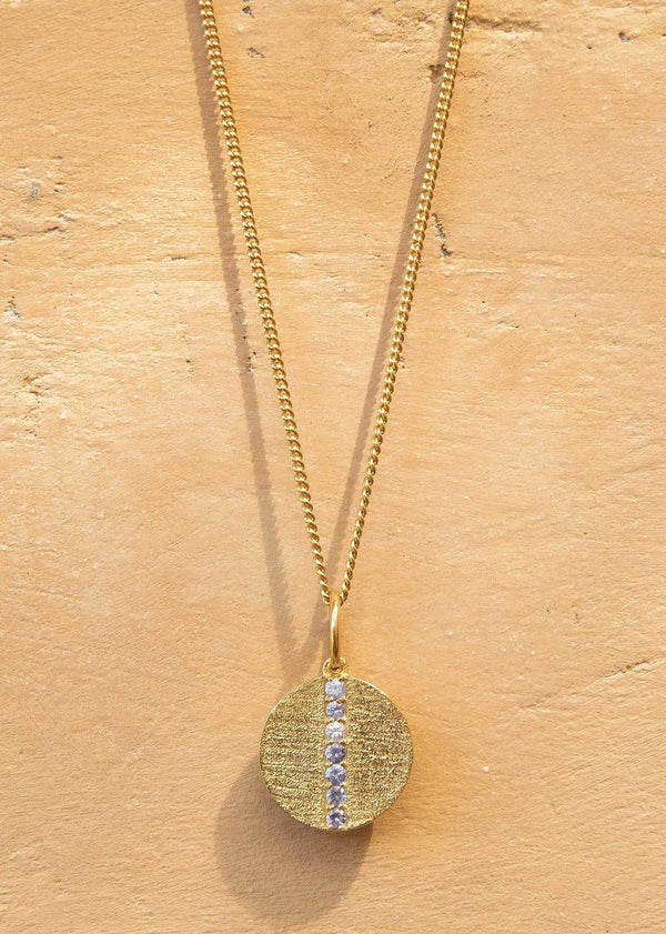 Vintage Seven Stone Medallion with Tanzanite Gemstones Gold - Alor The Label