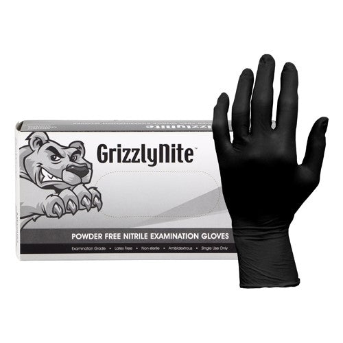 ProWorks® GrizzlyNite Black  XXL Nitrile Exam Powder Free Disposable Gloves, 5 mil (GL-N105FXXL)
