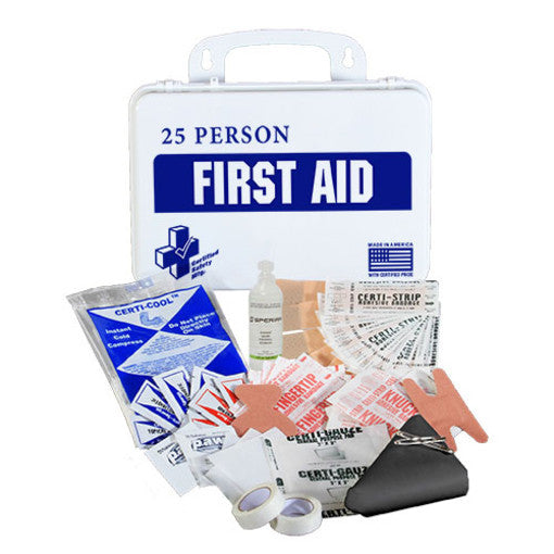 CERTIFIED SAFETY K610-029 16PW 25-PERSON FIRST AID KIT WITH EYE WASH, POLY WHITE CASE