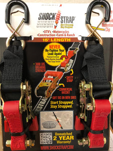 ShockStrap Ratchet Strap Tie-Down, 9'- 6,000lb Break Strength (2 Pack)