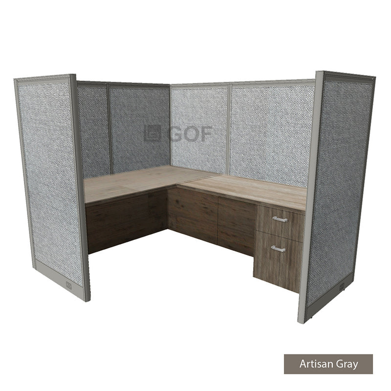 GOF 1 Person Workstation Cubicle (5.5'D x 6'W x 5'H) / Office Partition, Room Divider - Kainosbuy.com
