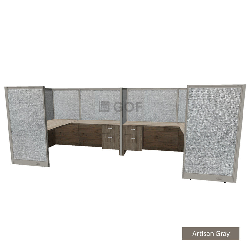 GOF 2 Person Separate Workstation Cubicle (6'D  x 14'W x 5'H -W) / Office Partition, Room Divider - Kainosbuy.com