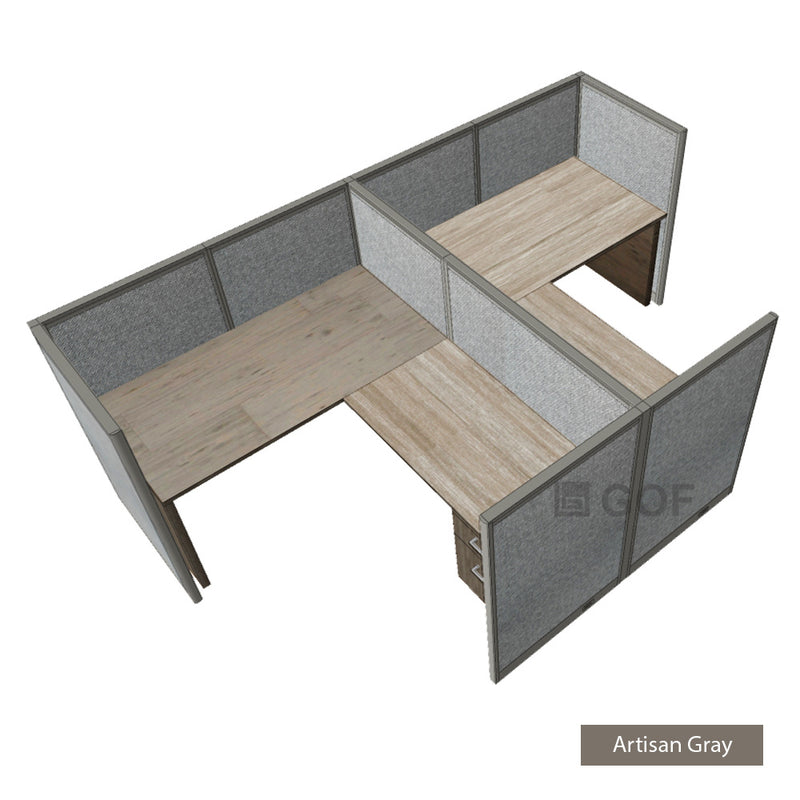 GOF Double 2 Person Workstation Cubicle (12'D x 6'W x 4'H) / Office Partition, Room Divider - Kainosbuy.com