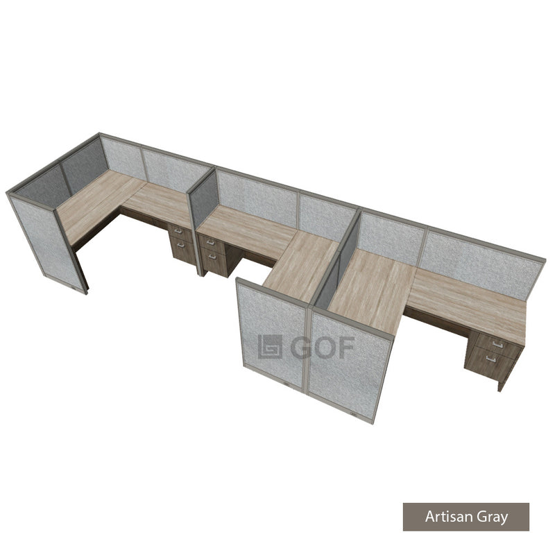 GOF 3 Person Separate Workstation Cubicle (6'D x 21'W x 4'H -W) / Office Partition, Room Divider - Kainosbuy.com