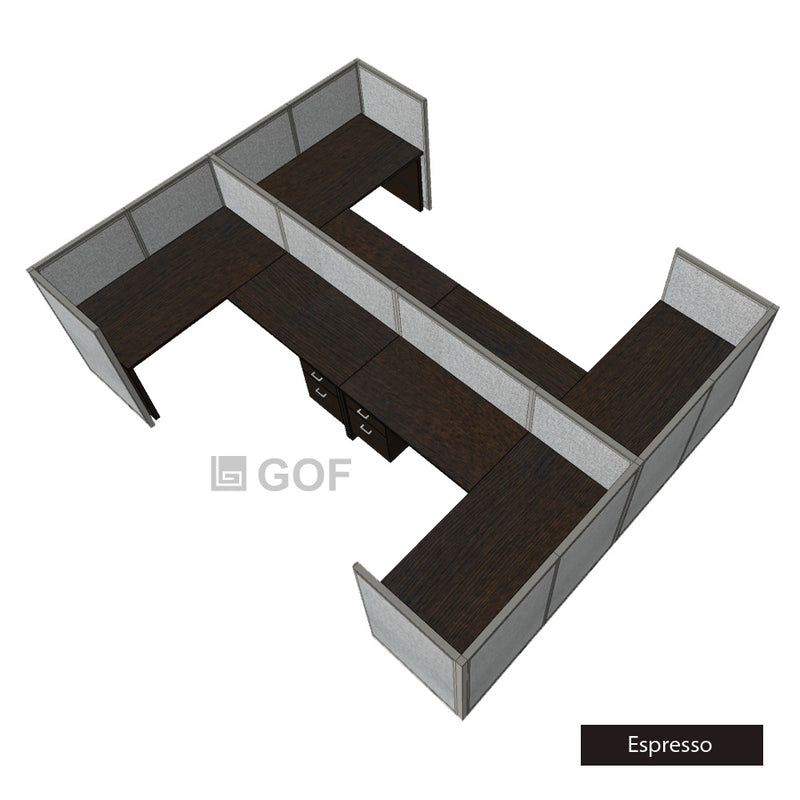 GOF Double 4 Person Workstation Cubicle (10'D x 13'W x 4'H) / Office Partition, Room Divider - Kainosbuy.com