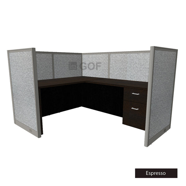 GOF 1 Person Workstation Cubicle (6'D x 6'W x 4'H) / Office Partition, Room Divider - Kainosbuy.com
