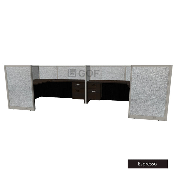 GOF 2 Person Separate Workstation Cubicle (5'D x 13'W x 4'H-W) / Office Partition, Room Divider - Kainosbuy.com