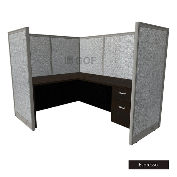 GOF 1 Person Workstation Cubicle (7'D x 6'W x 5'H) / Office Partition, Room Divider - Kainosbuy.com