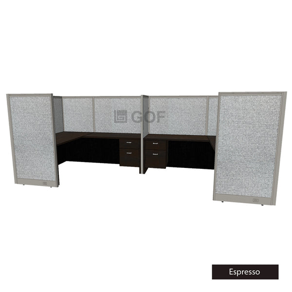 GOF 2 Person Separate Workstation Cubicle (5.5'D  x 12'W x 5'H-W) / Office Partition, Room Divider - Kainosbuy.com