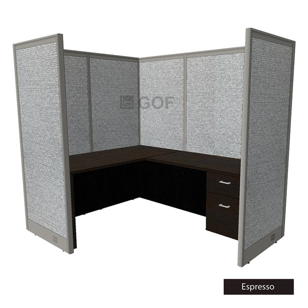 GOF 1 Person Workstation Cubicle (5'D x 6'W x 6'H) / Office Partition, Room Divider - Kainosbuy.com