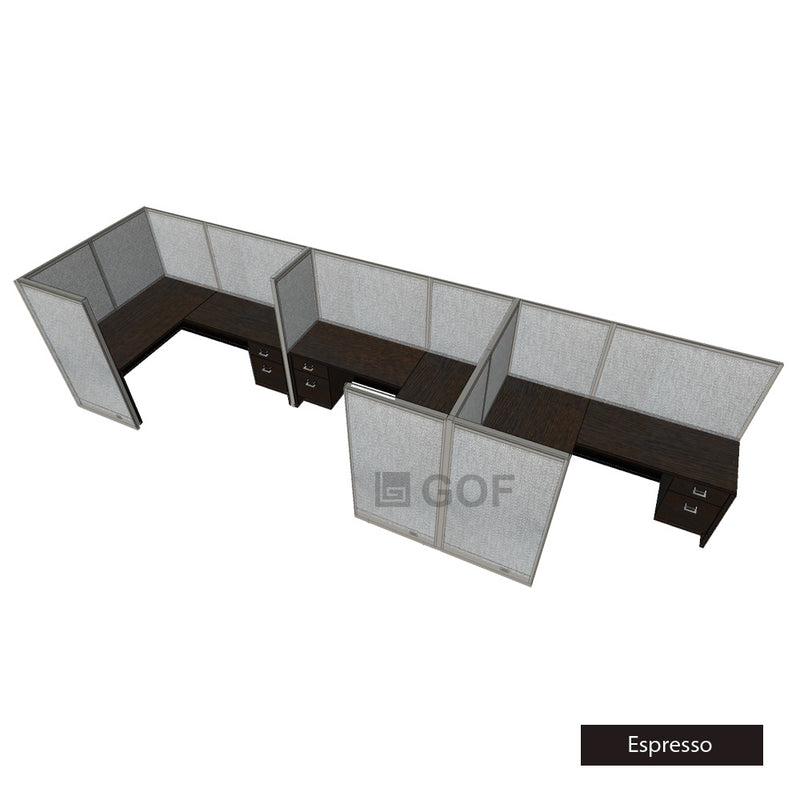 GOF 3 Person Separate Workstation Cubicle (6'D x 21'W x 5'H -W) / Office Partition, Room Divider - Kainosbuy.com