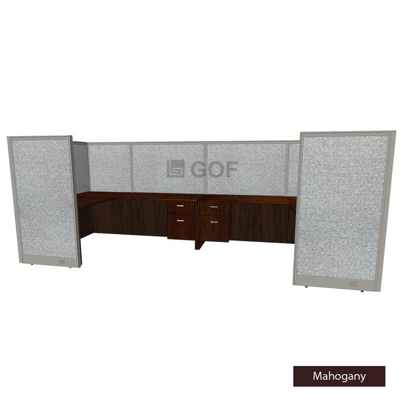 GOF 2 Person Workstation Cubicle (5.5'D x 12'W x 5'H) / Office Partition, Room Divider - Kainosbuy.com