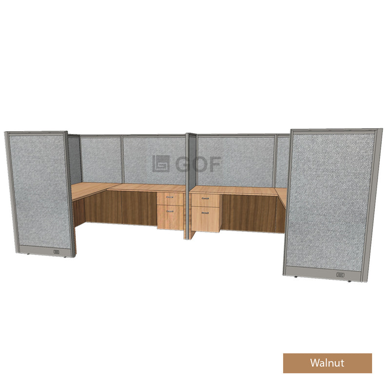 GOF 2 Person Separate Workstation Cubicle (5.5'D  x 13'W x 5'H-W) / Office Partition, Room Divider - Kainosbuy.com