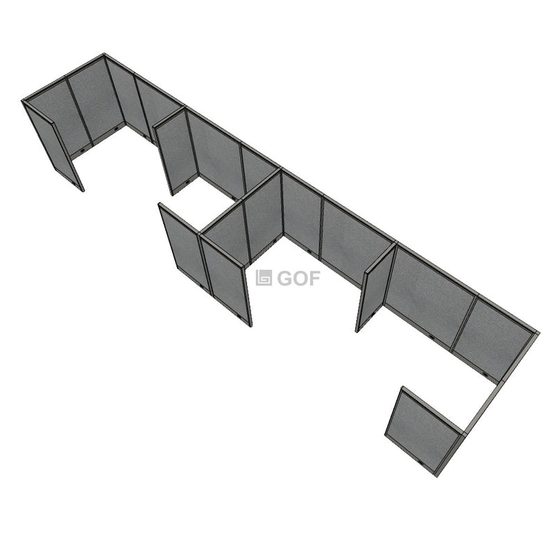 GOF 4 Person Separate Workstation Cubicle (6'D x 28'W x 5'H -W) / Office Partition, Room Divider - Kainosbuy.com