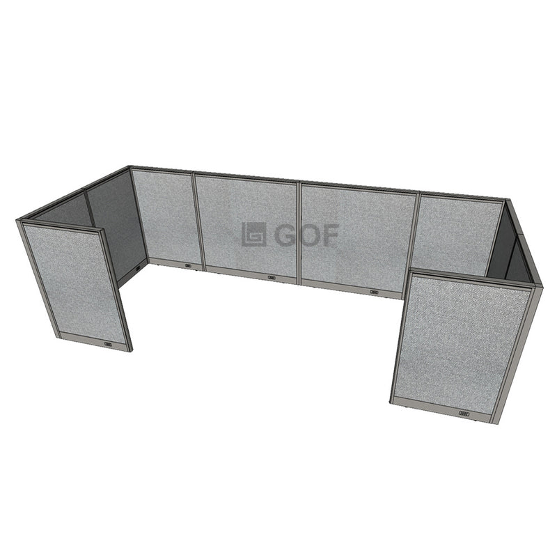 GOF 2 Person Workstation Cubicle (5.5'D x 12'W x 4'H) / Office Partition, Room Divider - Kainosbuy.com