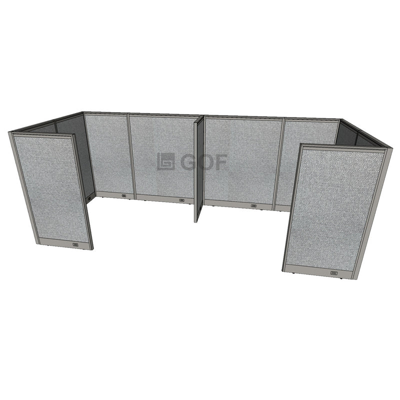 GOF 2 Person Separate Workstation Cubicle (5'D x 12'W x 5'H-W) / Office Partition, Room Divider - Kainosbuy.com