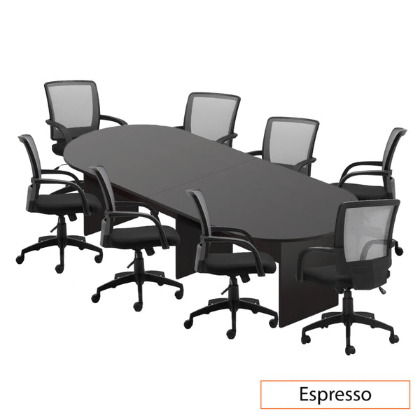 10ft. Racetrack Conference Table with <br>8 Chairs (G10900B) - Kainosbuy.com