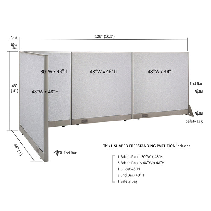 GOF Office L-Shaped Partition 48d x 126w x 48H - Kainosbuy.com