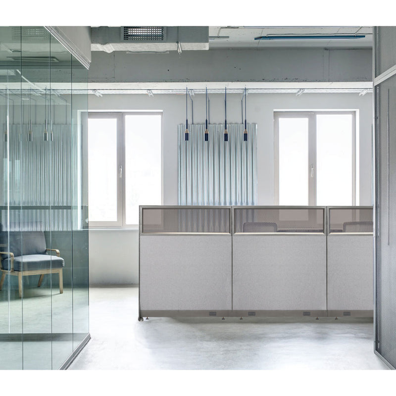 GOF Partial Glass Panel Office Partition<br>48w x 72h - Kainosbuy.com