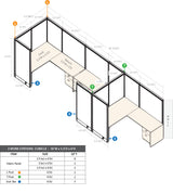 GOF 3 Person Workstation Cubicle (5.5'D  x 18'W x 6'H) / Office Partition, Room Divider - Kainosbuy.com