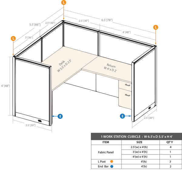 GOF 1 Person Workstation Cubicle (5.5'D x 6.5'W x 4'H) / Office Partition, Room Divider - Kainosbuy.com