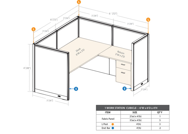 GOF 1 Person Workstation Cubicle (C-6'D x 6'W x 4'H) / Office Partition, Room Divider - Kainosbuy.com