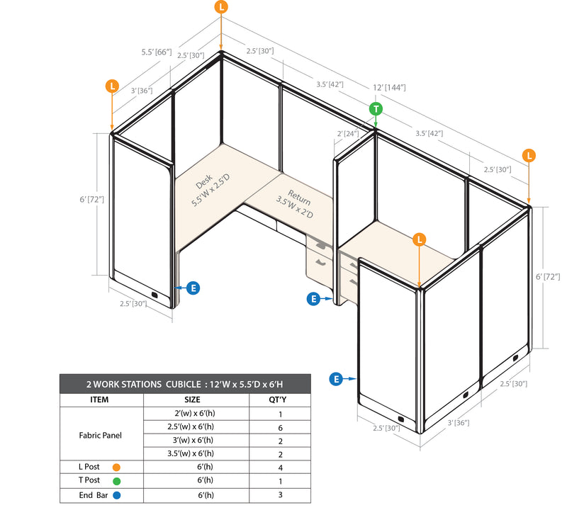 GOF 2 Person Separate Workstation Cubicle (5.5'D  x 12'W x 6'H-W) / Office Partition, Room Divider - Kainosbuy.com