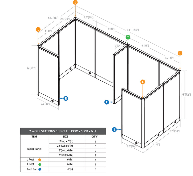 GOF 2 Person Separate Workstation Cubicle (5.5'D  x 13'W x 6'H-W) / Office Partition, Room Divider - Kainosbuy.com