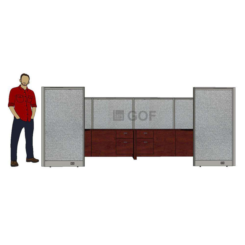 GOF 2 Person Workstation Cubicle (6'D x 12'W x 5'H) / Office Partition, Room Divider - Kainosbuy.com