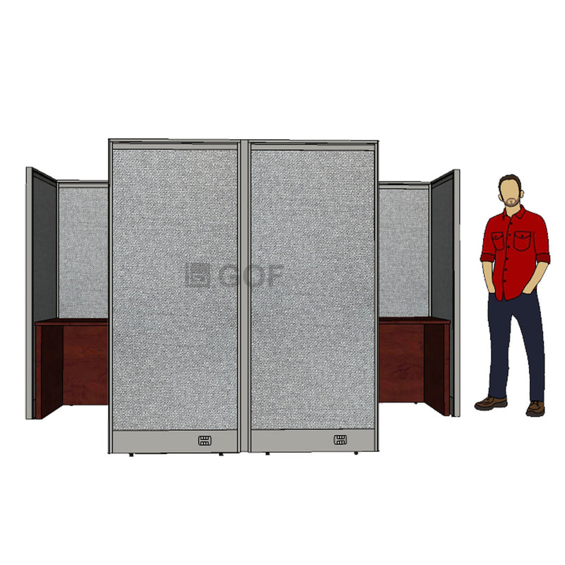 GOF Double 2 Person Workstation Cubicle (10'D x 6.5'W x 6'H) / Office Partition, Room Divider - Kainosbuy.com