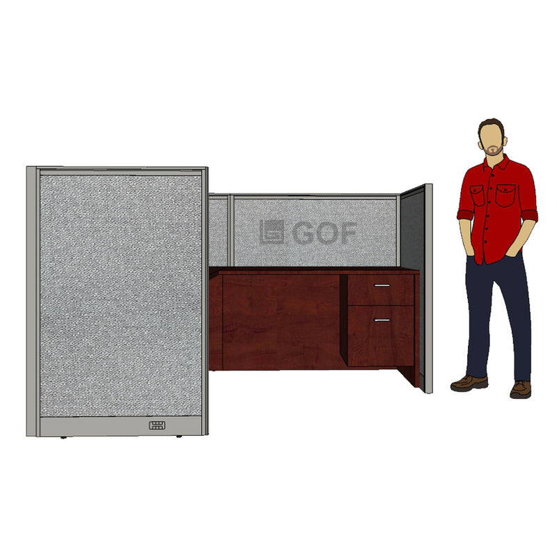 GOF 1 Person Workstation Cubicle (5'D x 6.5'W x 4'H) / Office Partition, Room Divider - Kainosbuy.com