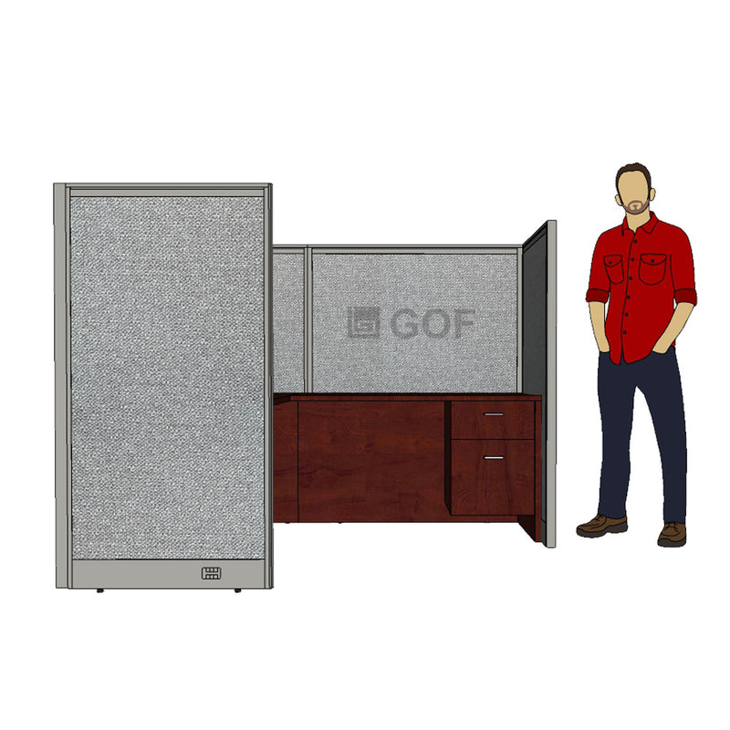 GOF 1 Person Workstation Cubicle (5'D x 6.5'W x 5'H) / Office Partition, Room Divider - Kainosbuy.com