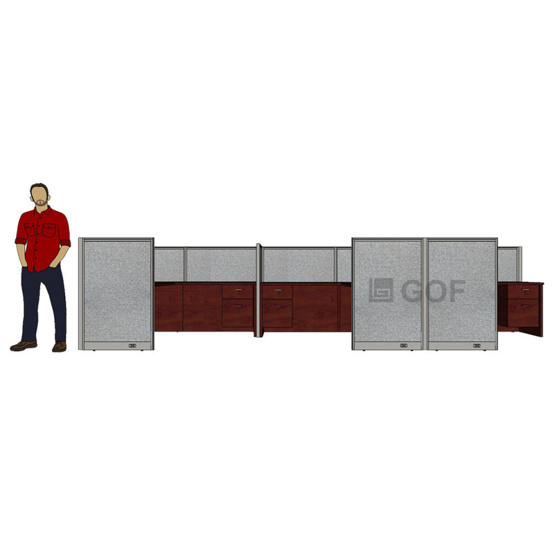 GOF 3 Person Separate Workstation Cubicle (5'D x 18'W x 4'H -W) / Office Partition, Room Divider - Kainosbuy.com