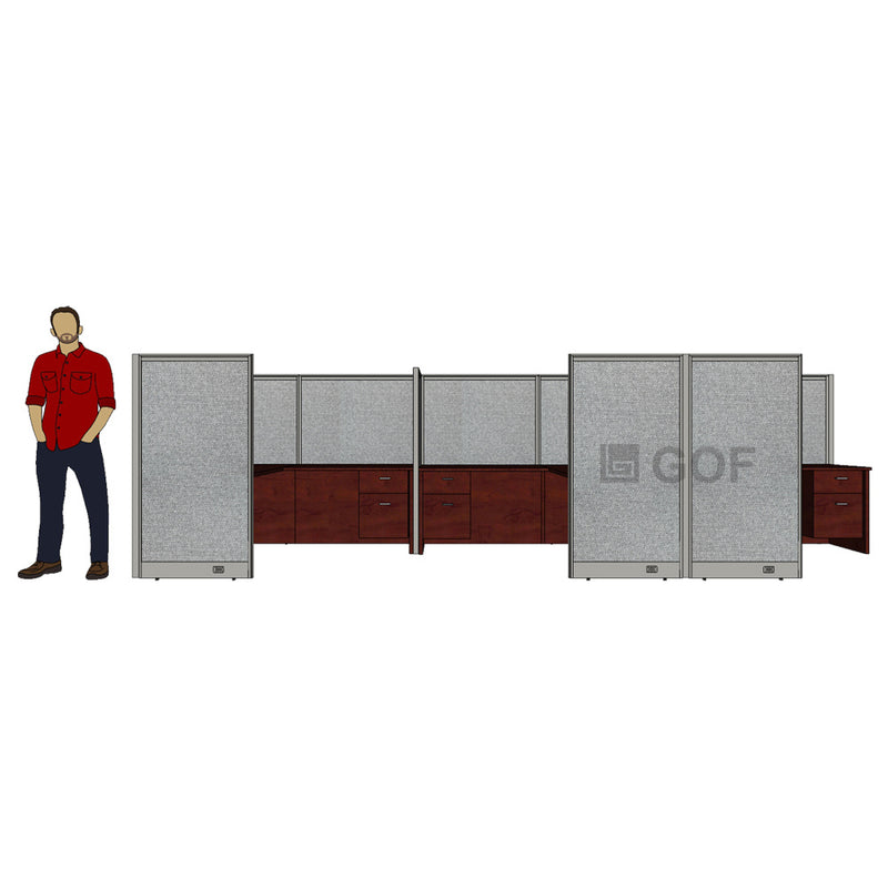 GOF 3 Person Separate Workstation Cubicle (6'D x 18'W x 5'H -W) / Office Partition, Room Divider - Kainosbuy.com