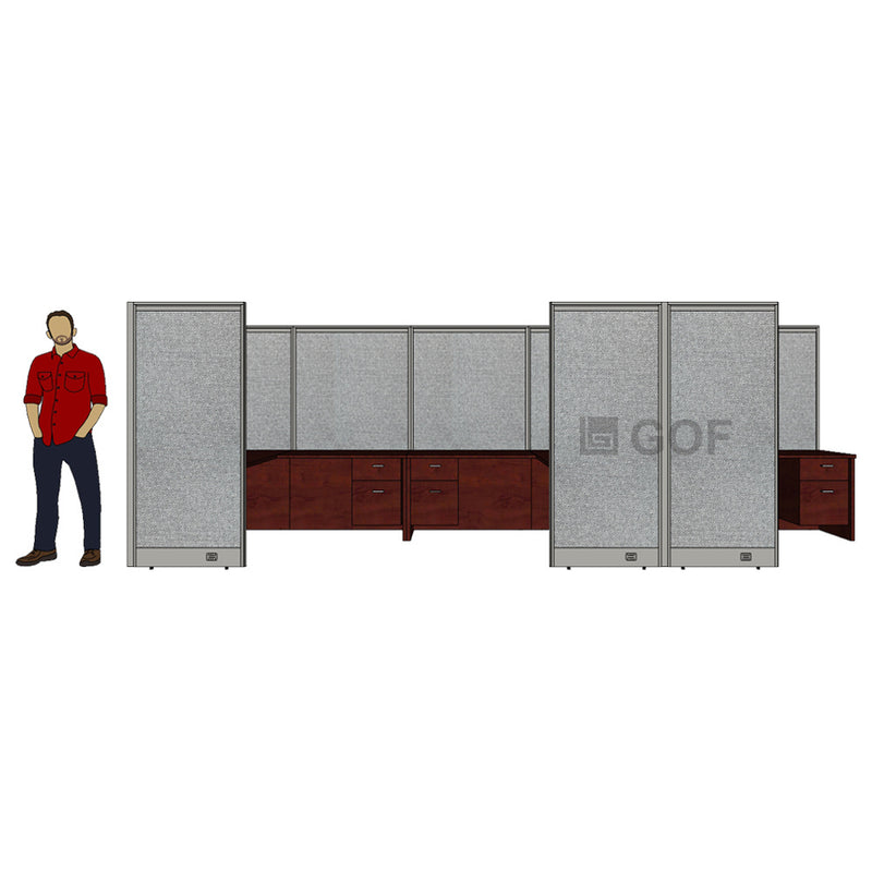GOF 3 Person Workstation Cubicle (5'D x18'W x 6'H) / Office Partition, Room Divider - Kainosbuy.com