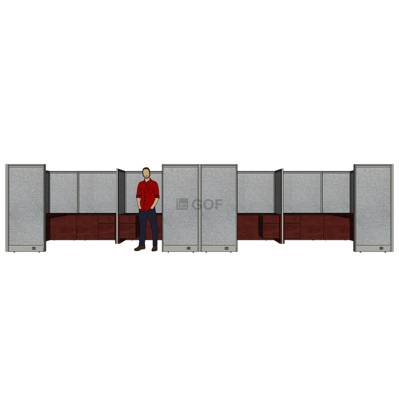 GOF 4 Person Separate Workstation Cubicle (5'D x 26'W x 6'H -W) / Office Partition, Room Divider - Kainosbuy.com