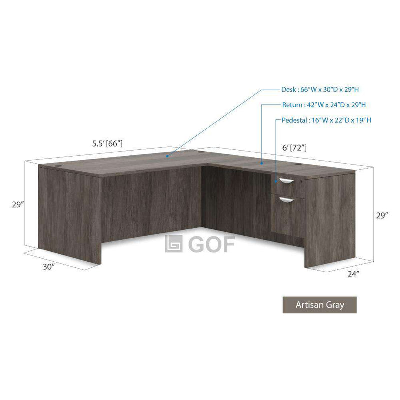 GOF 3 Person Workstation Cubicle (5.5'D  x 18'W x 5'H) / Office Partition, Room Divider - Kainosbuy.com