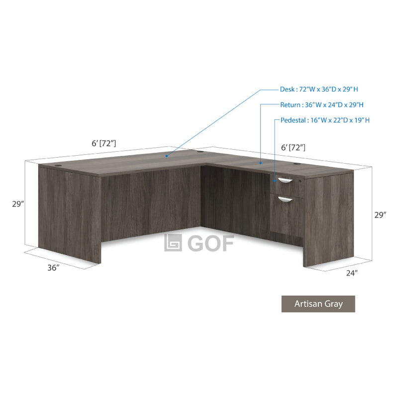 GOF 4 Person Workstation Cubicle (6'D  x 24'W x 6'H) / Office Partition, Room Divider - Kainosbuy.com