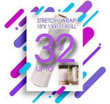 "Stretch Wrap 18""x 1500 FT Roll 80 Gauge Thick + Hybrid technology - Kainosbuy.com"