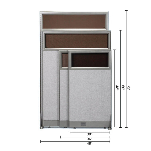GOF Partial Glass Panel Office Partition<br>30w x 48h - Kainosbuy.com